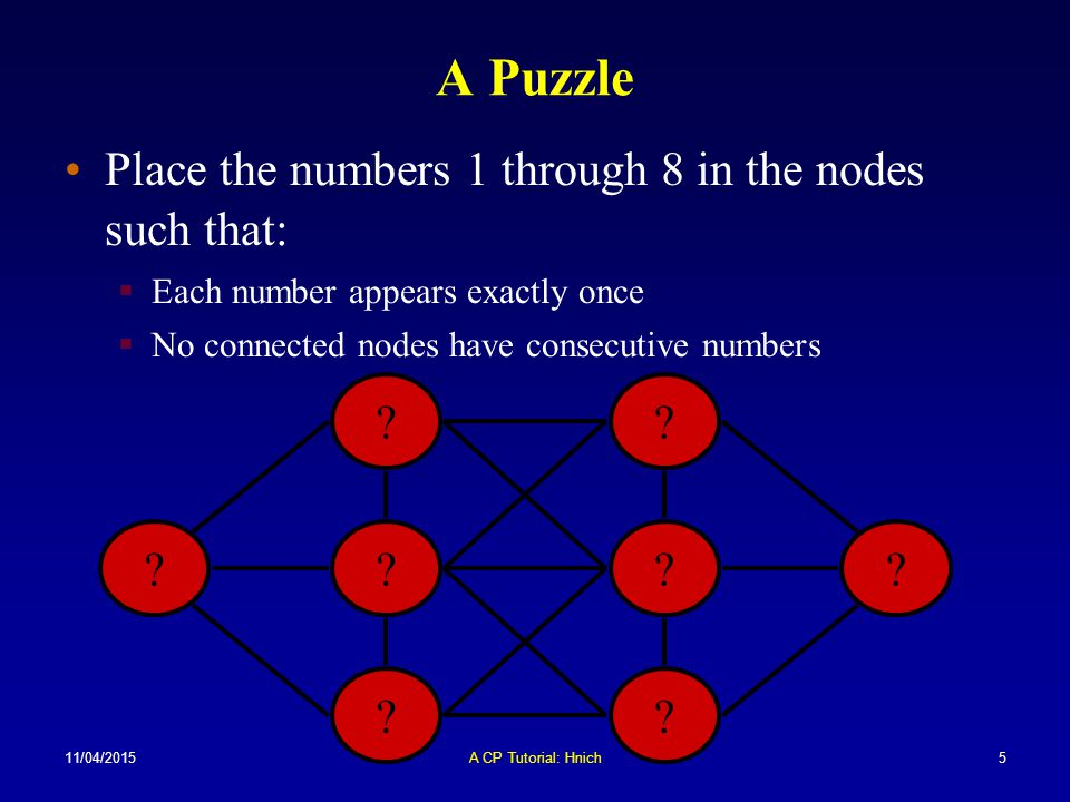 A Puzzle Place the numbers 1 through 8 in the nodes such that: