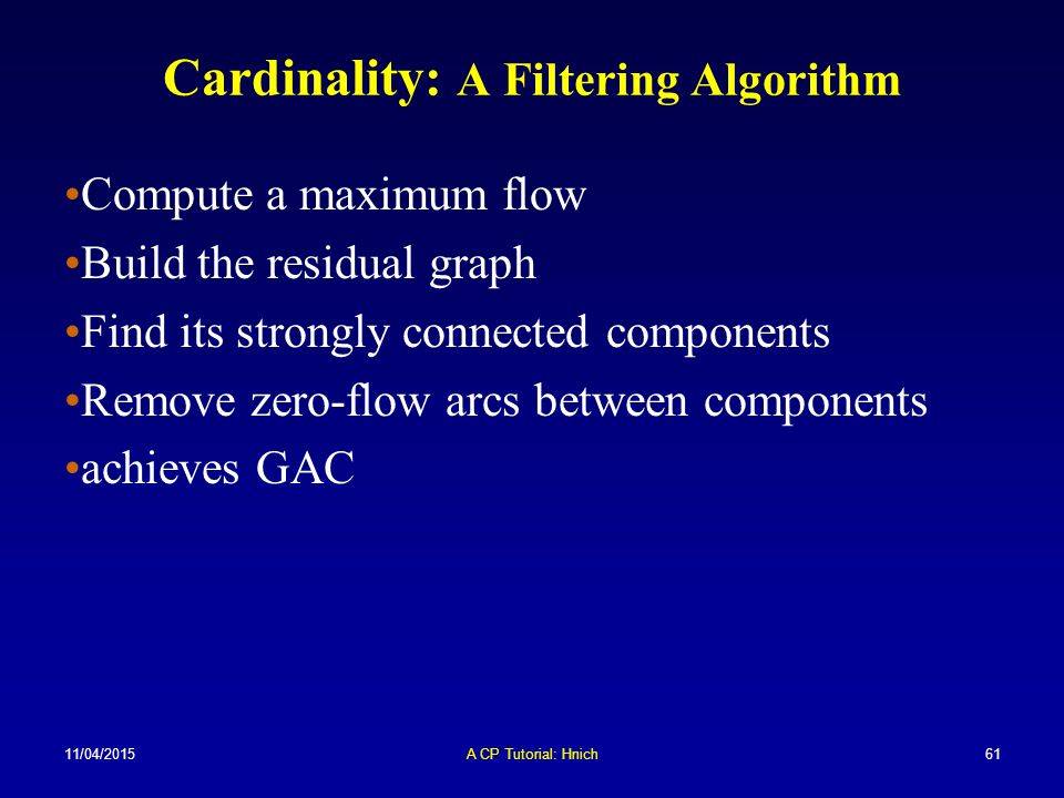 Cardinality: A Filtering Algorithm