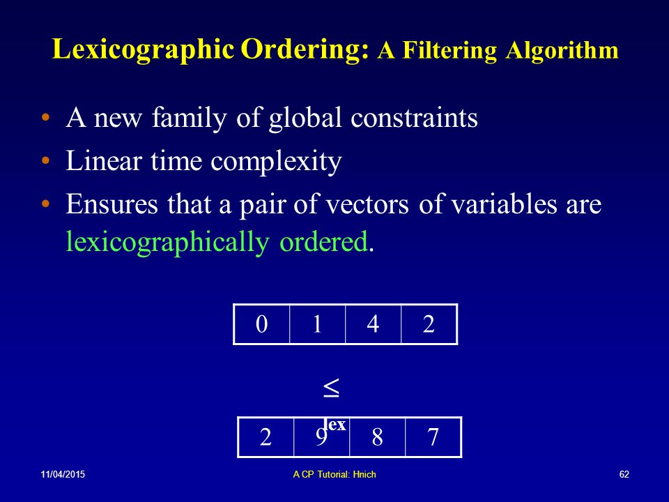 Lexicographic Ordering: A Filtering Algorithm