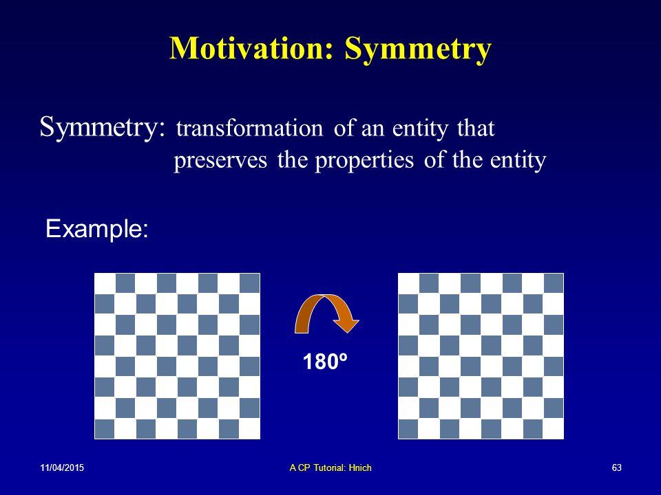 Motivation: Symmetry Symmetry: transformation of an entity that preserves the properties of the entity.