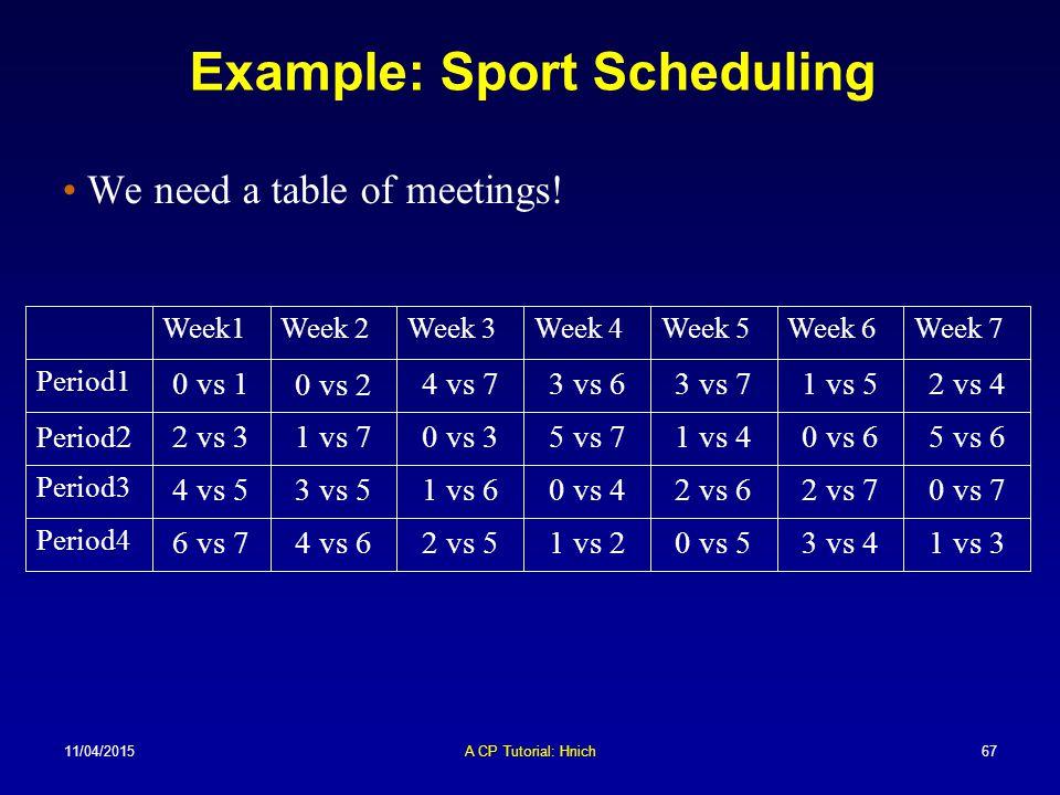 Example: Sport Scheduling
