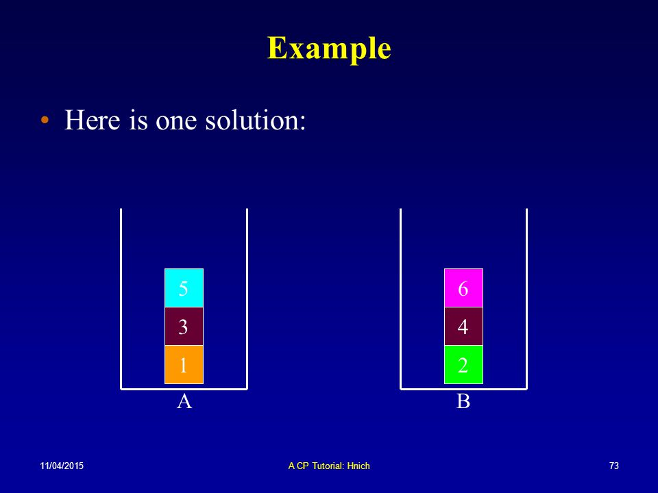 Example Here is one solution: 5 6 3 4 1 2 A B 10/04/2017
