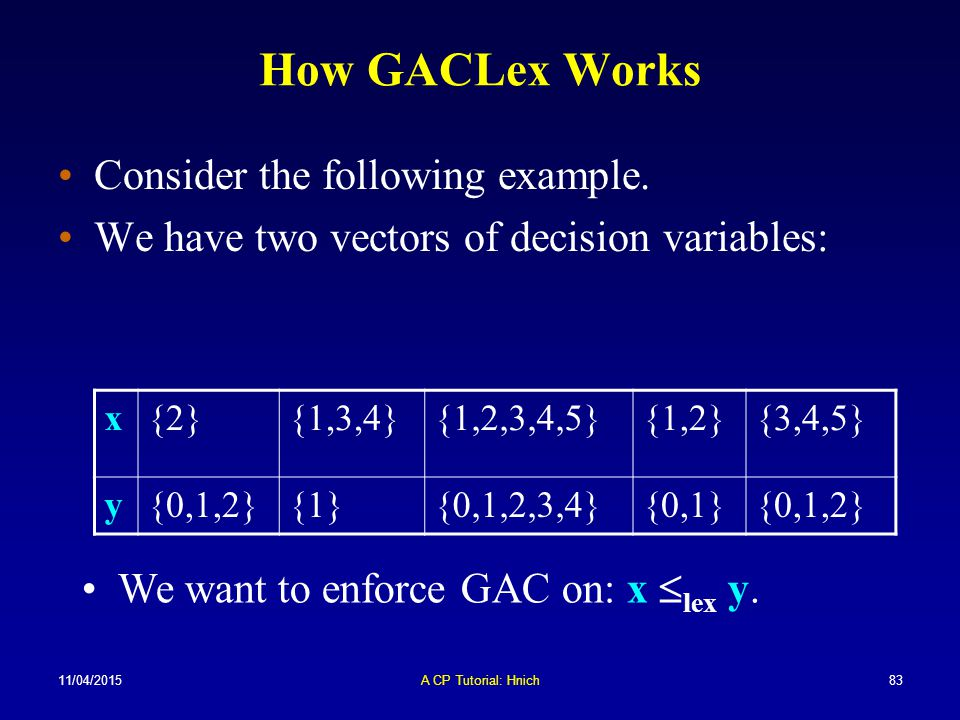 How GACLex Works Consider the following example.