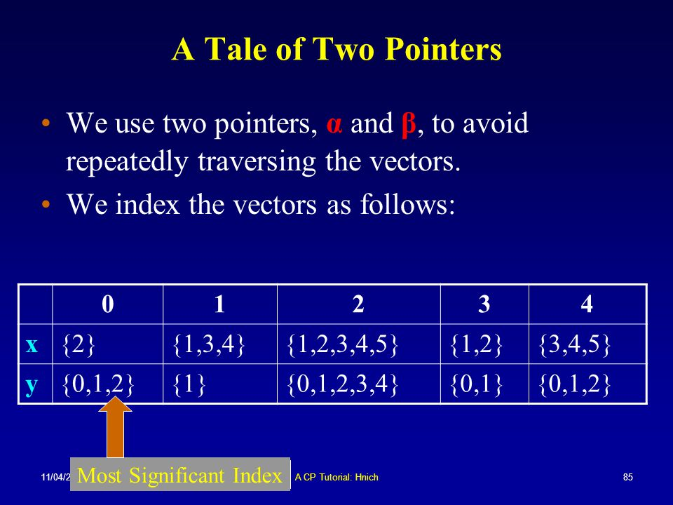 A Tale of Two Pointers We use two pointers, α and β, to avoid repeatedly traversing the vectors. We index the vectors as follows:
