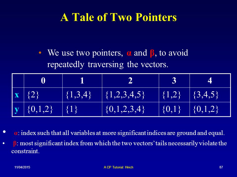 A Tale of Two Pointers We use two pointers, α and β, to avoid repeatedly traversing the vectors. 1.