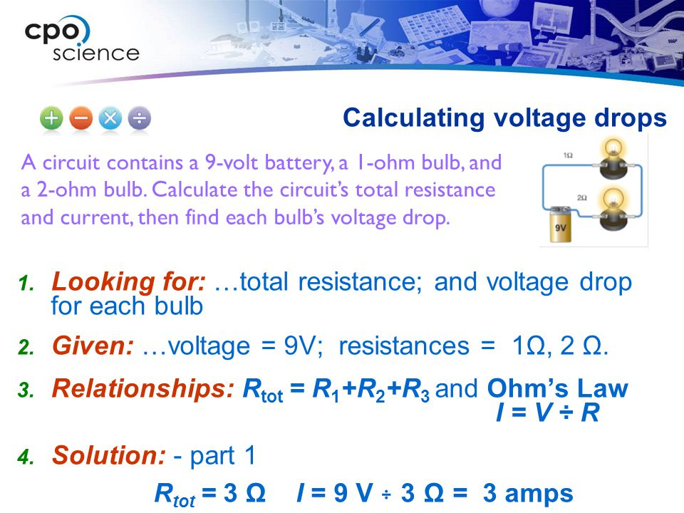 Calculating voltage drops