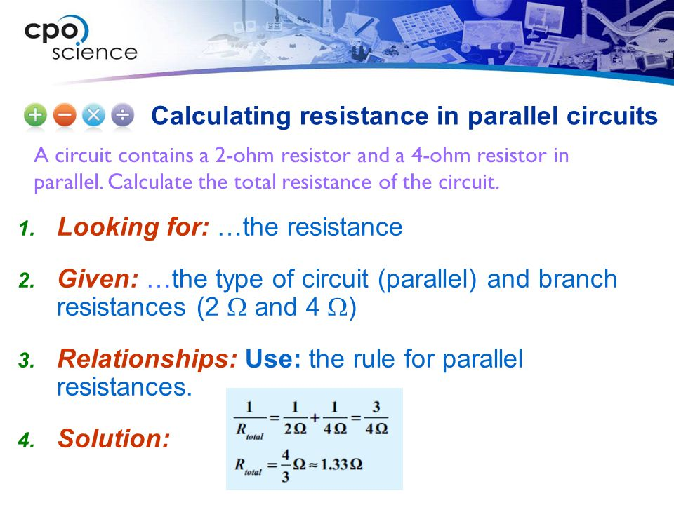 Calculating resistance in parallel circuits