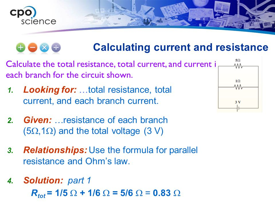 Calculating current and resistance