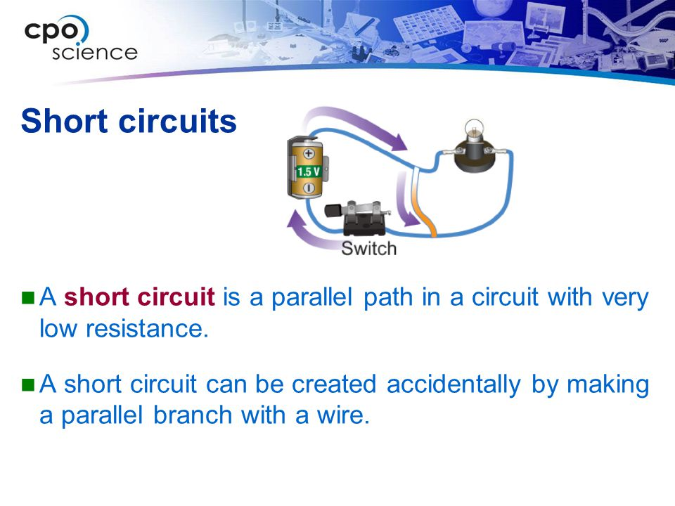 Short circuits A short circuit is a parallel path in a circuit with very low resistance.