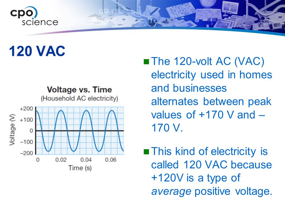 120 VAC The 120-volt AC (VAC) electricity used in homes and businesses alternates between peak values of +170 V and – 170 V.