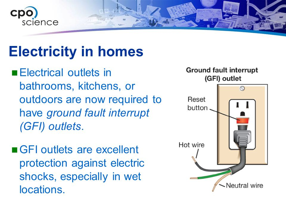 Electricity in homes Electrical outlets in bathrooms, kitchens, or outdoors are now required to have ground fault interrupt (GFI) outlets.