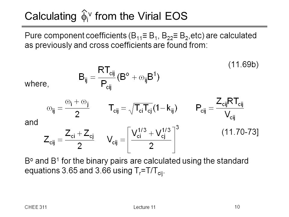 Calculating iv from the Virial EOS
