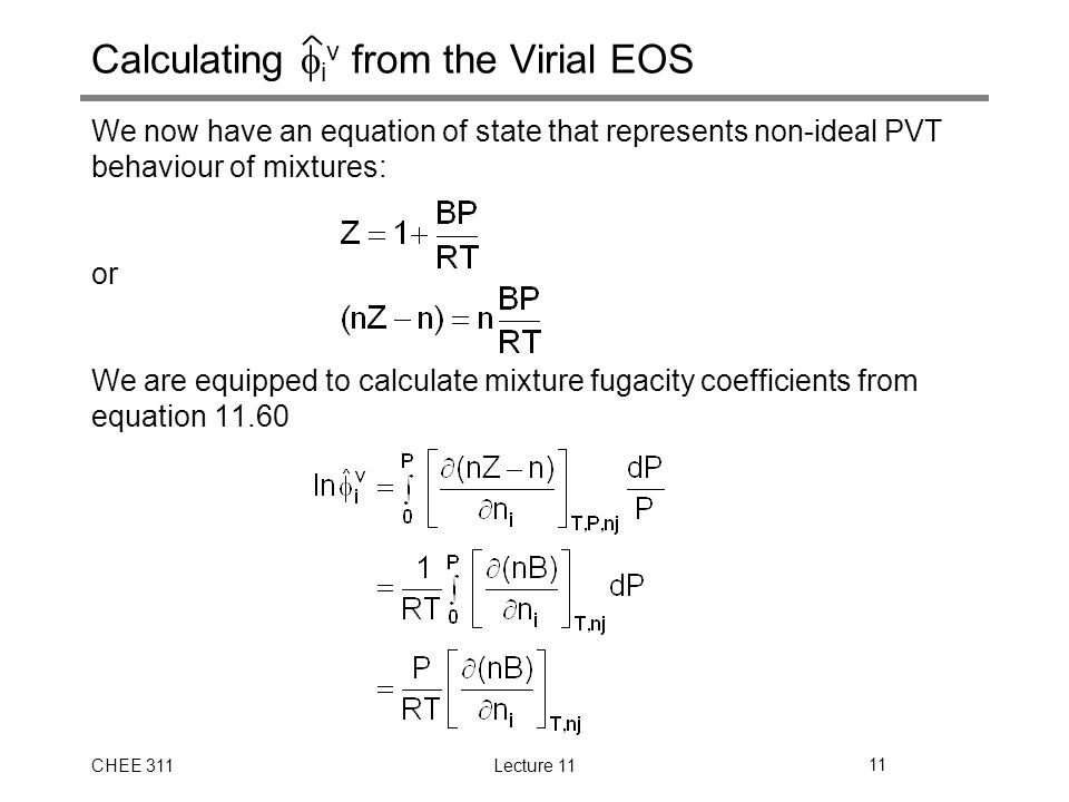 Fugacity of Non-Ideal Mixtures (SVNA 11.6 and 11.7) - ppt ...
