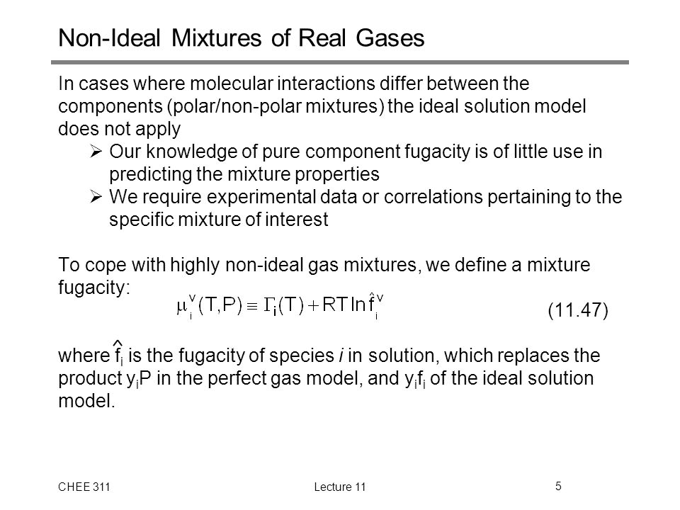 Non-Ideal Mixtures of Real Gases