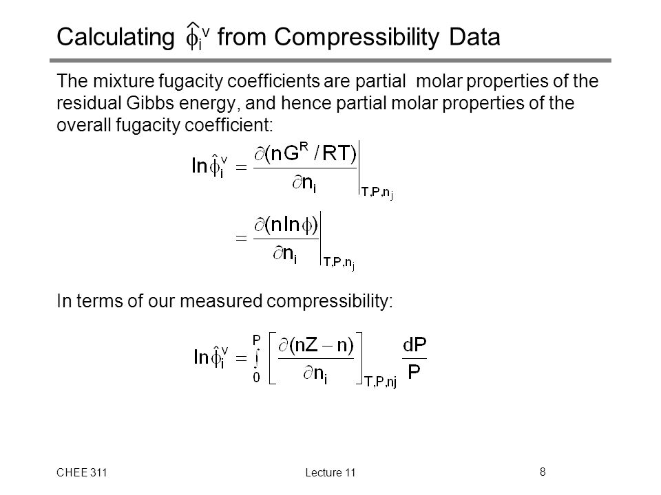 Calculating iv from Compressibility Data