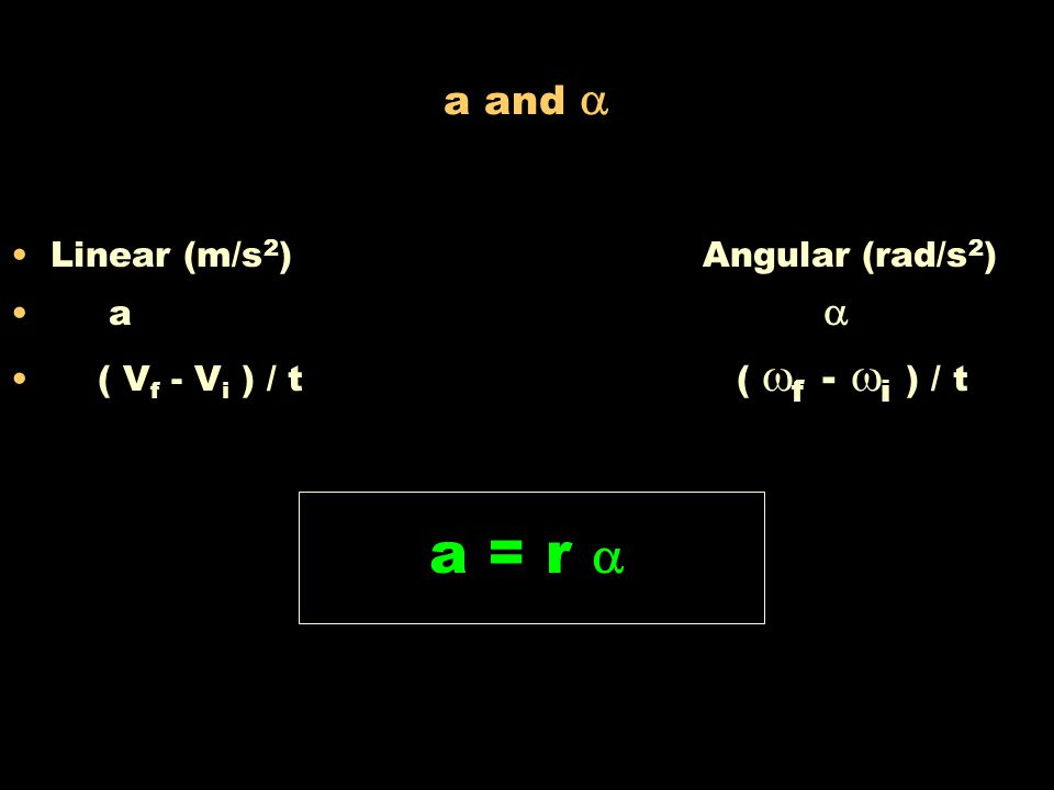a = r  a and  Linear (m/s2) Angular (rad/s2) a 