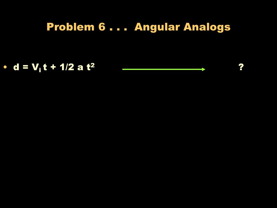 Problem 6 . . . Angular Analogs
