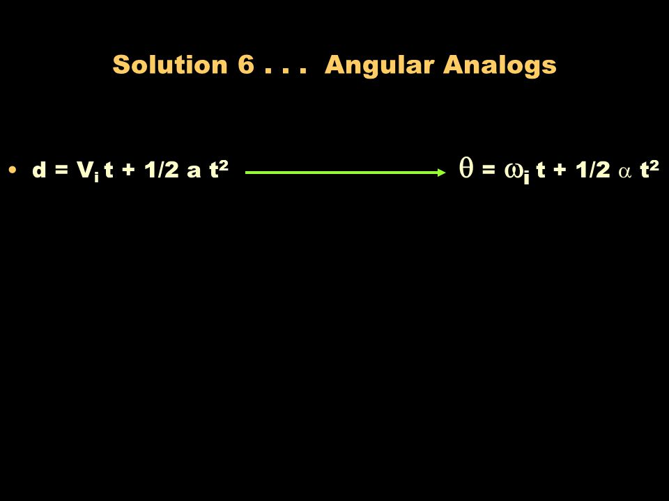 Solution 6 . . . Angular Analogs
