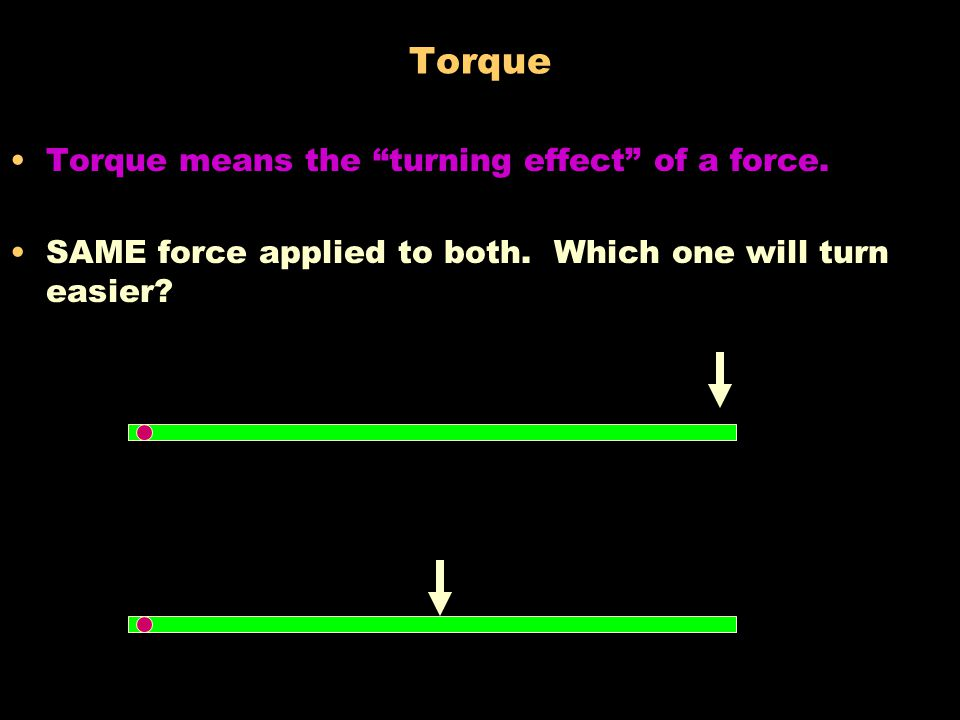 Torque Torque means the turning effect of a force.