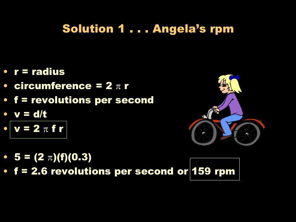 Solution 1 . . . Angela's rpm r = radius circumference = 2  r