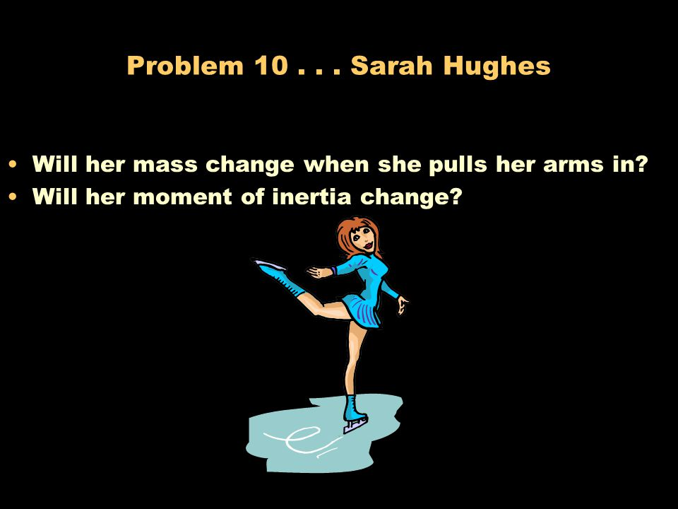 Problem 10 . Sarah Hughes Will her mass change when she pulls her arms in.