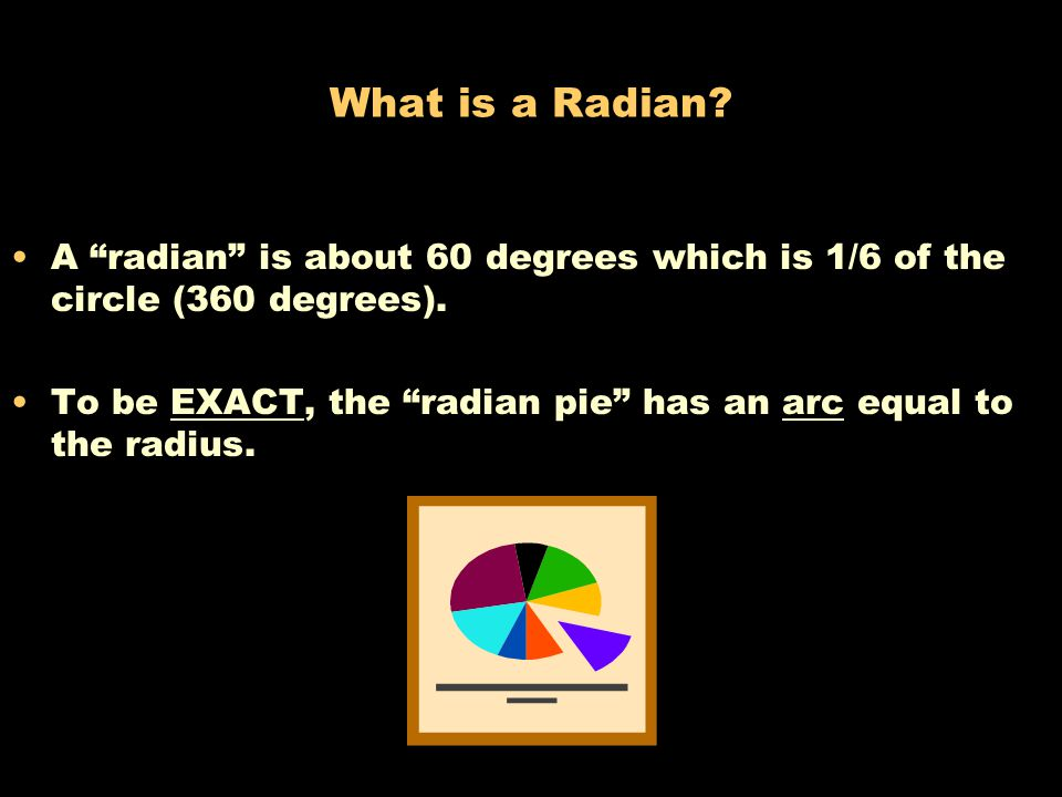 What is a Radian A radian is about 60 degrees which is 1/6 of the circle (360 degrees).