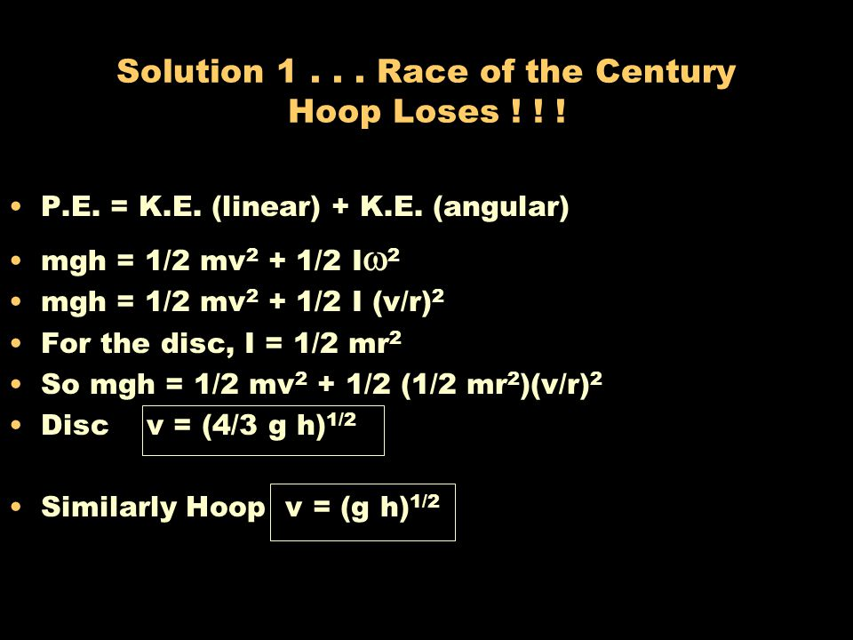 Solution 1 . . . Race of the Century Hoop Loses ! ! !