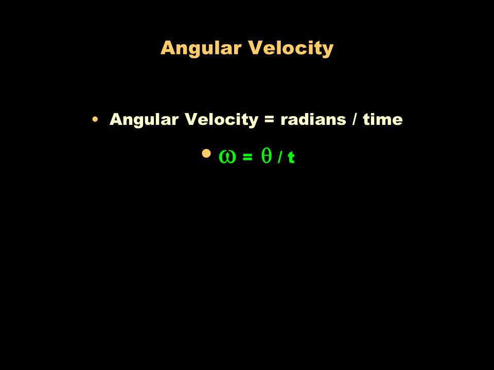 Angular Velocity = radians / time