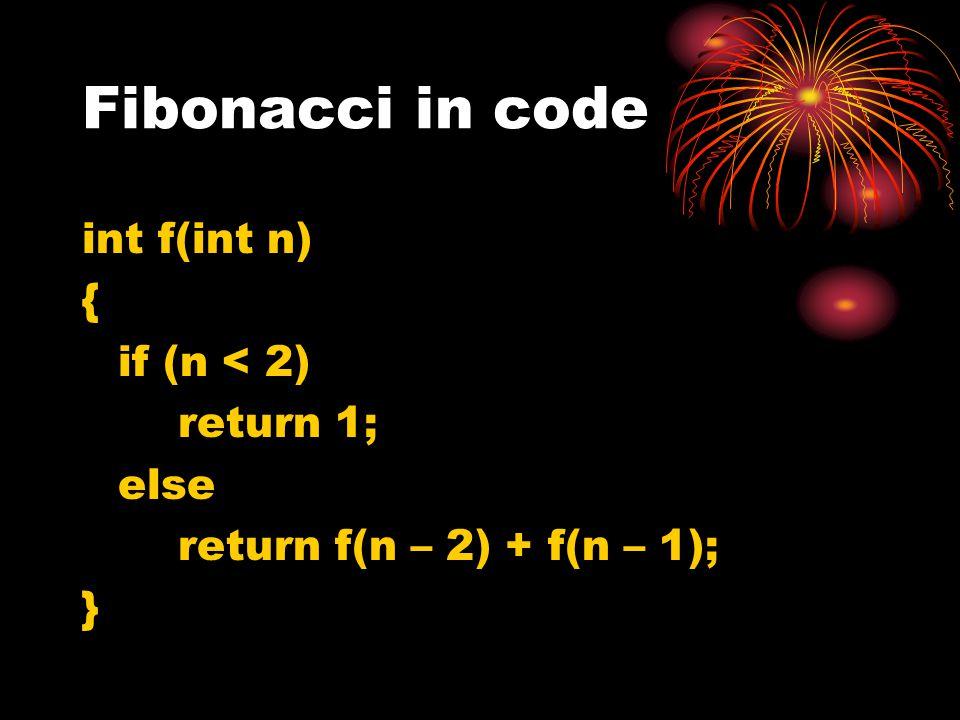Fibonacci in code int f(int n) { if (n < 2) return 1; else
