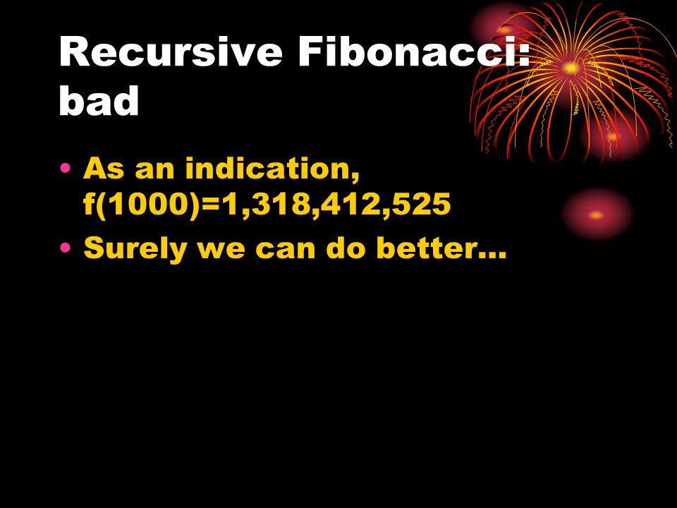 Recursive Fibonacci: bad