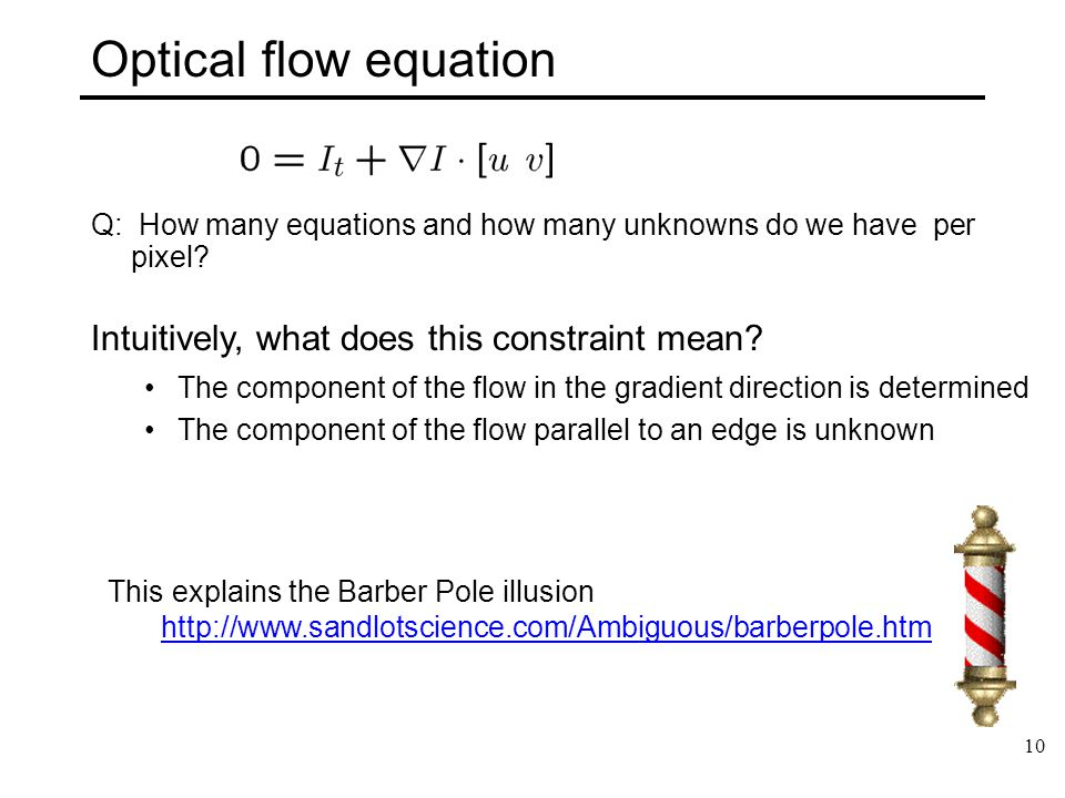 Optical flow equation Intuitively, what does this constraint mean