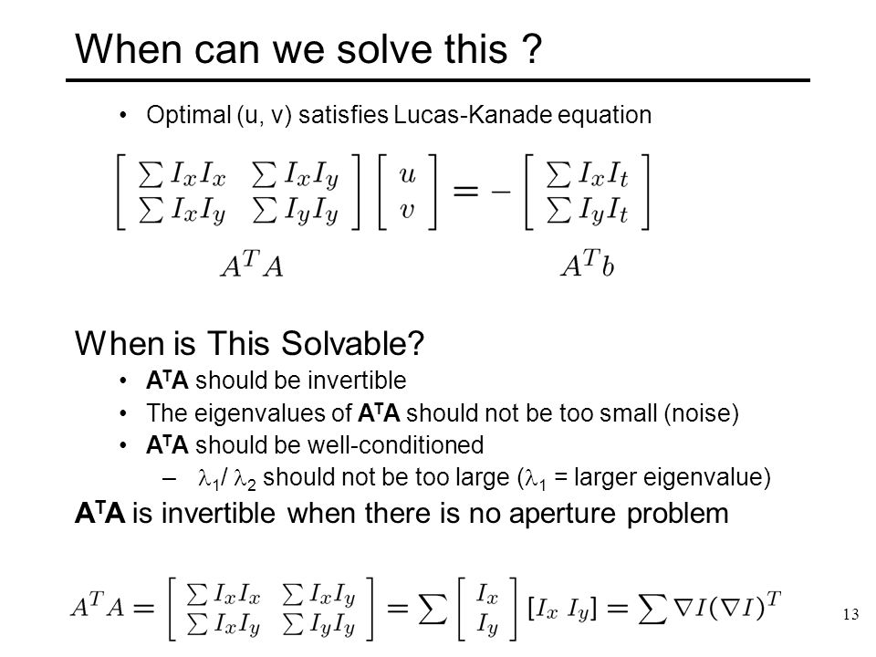 When can we solve this When is This Solvable