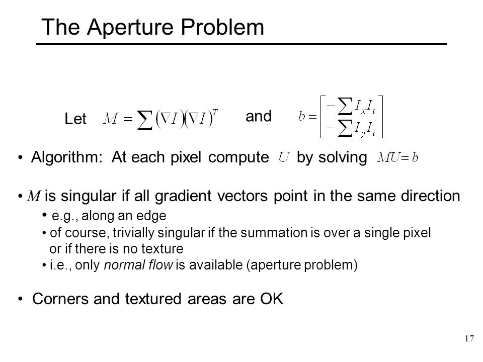 The Aperture Problem and Let