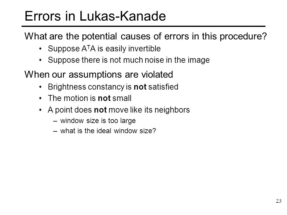 Errors in Lukas-Kanade