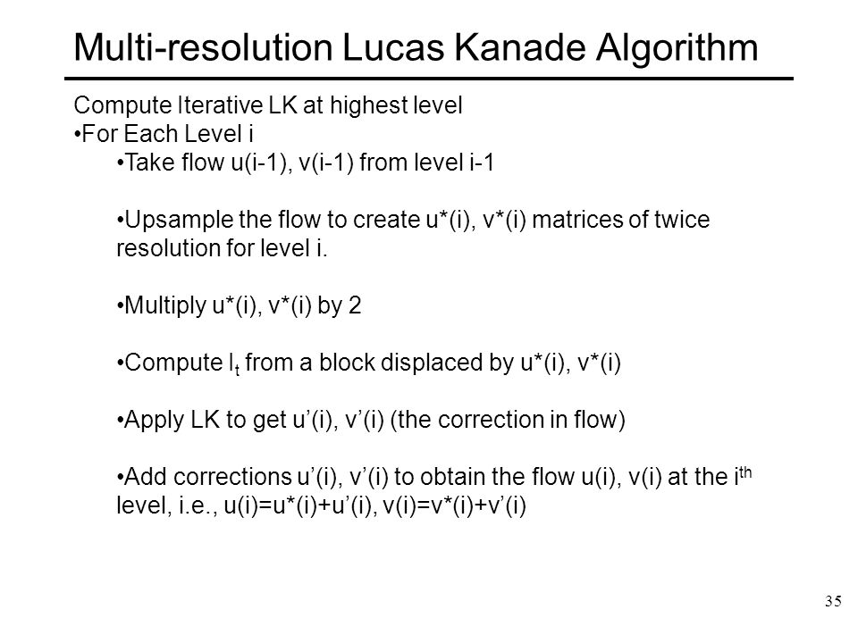 Multi-resolution Lucas Kanade Algorithm