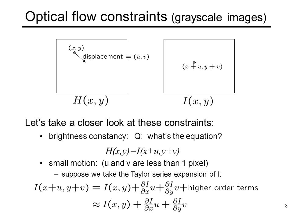 Optical flow constraints (grayscale images)