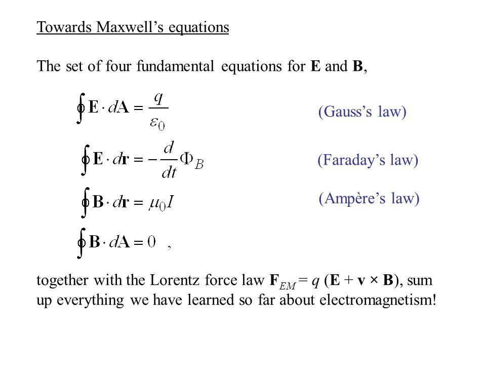 Towards Maxwell's equations