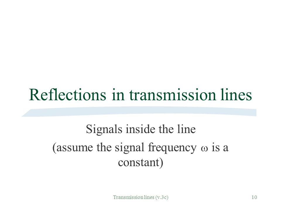 Reflections in transmission lines