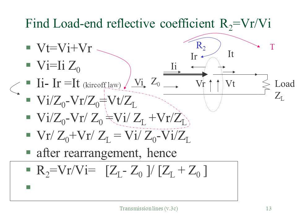 Find Load-end reflective coefficient R2=Vr/Vi