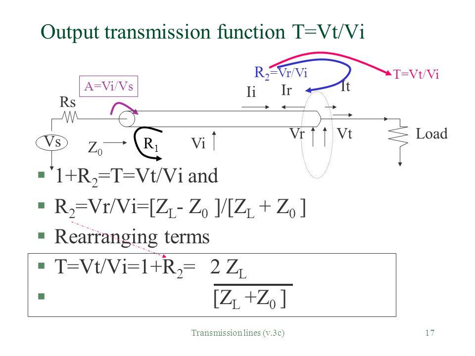 Output transmission function T=Vt/Vi