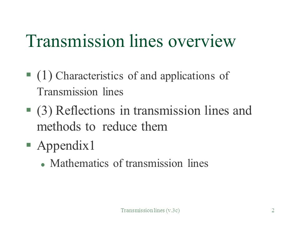 Transmission lines overview