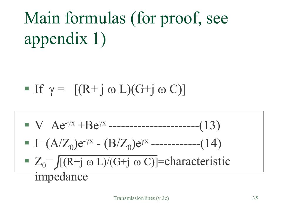 Main formulas (for proof, see appendix 1)