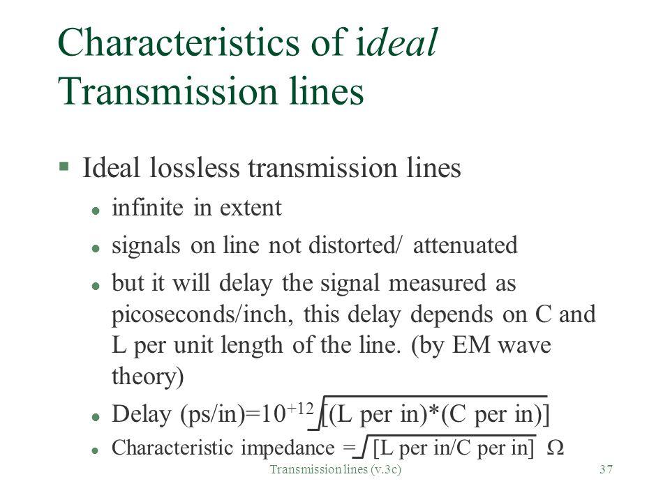 Characteristics of ideal Transmission lines