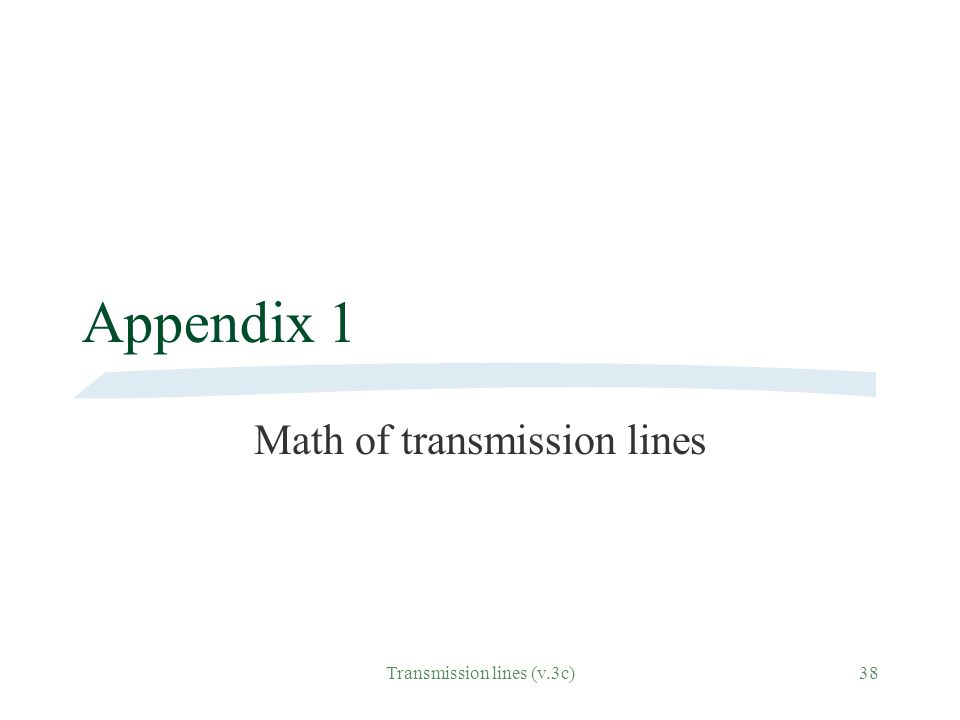 Math of transmission lines