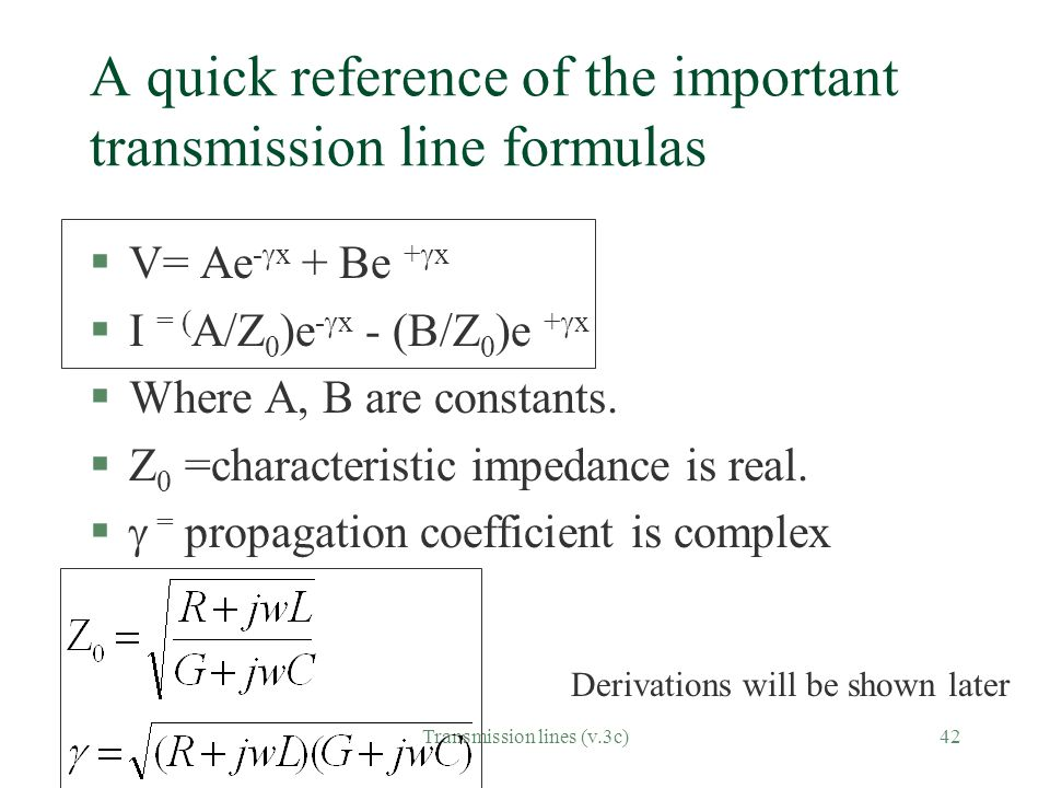 A quick reference of the important transmission line formulas