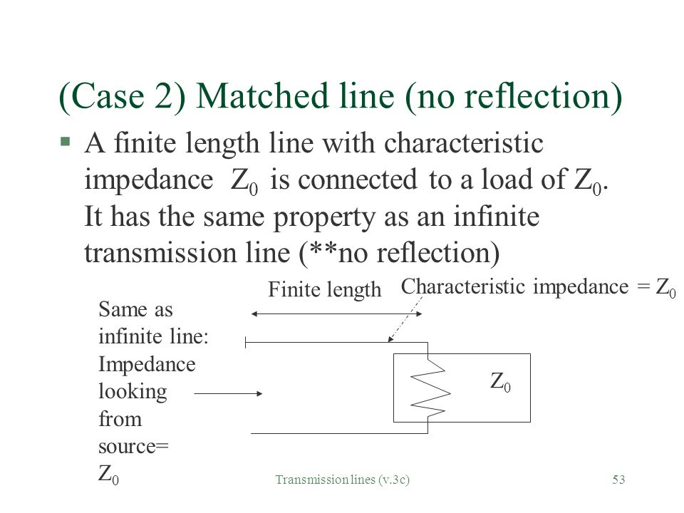 (Case 2) Matched line (no reflection)