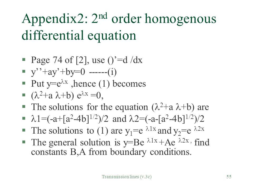Appendix2: 2nd order homogenous differential equation