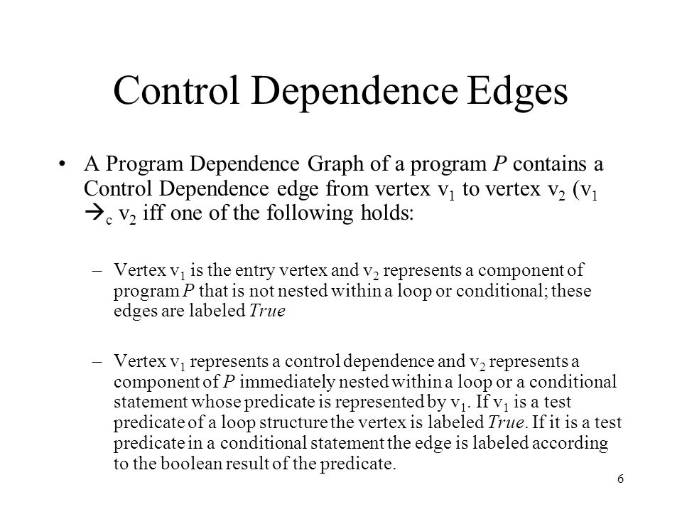 Control Dependence Edges