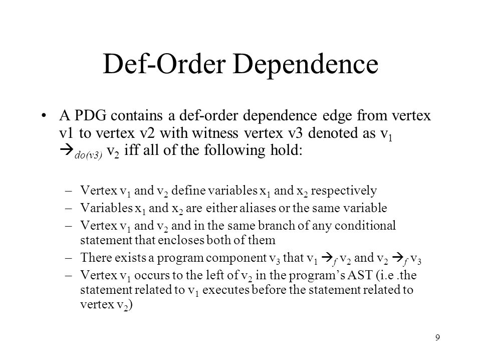 Def-Order Dependence