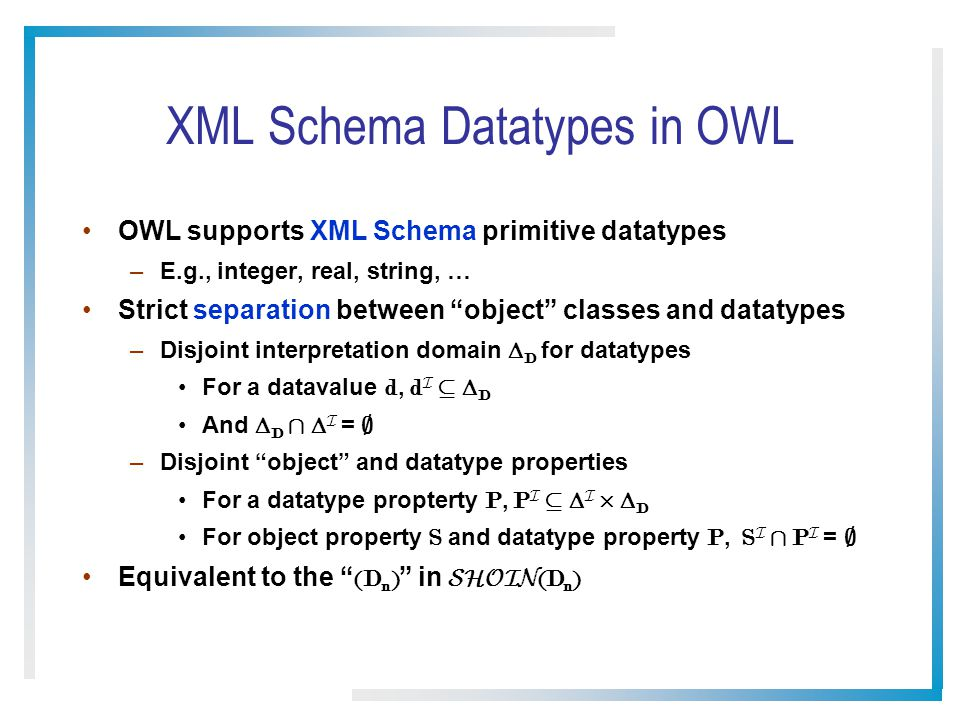 XML Schema Datatypes in OWL